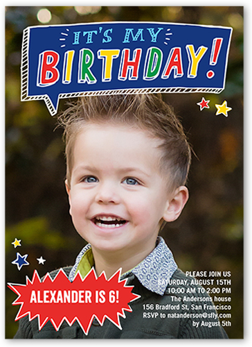 boy happy birthday invitation card