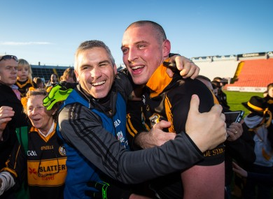 Stephen Stack celebrates with Kieran Donaghy after the game.