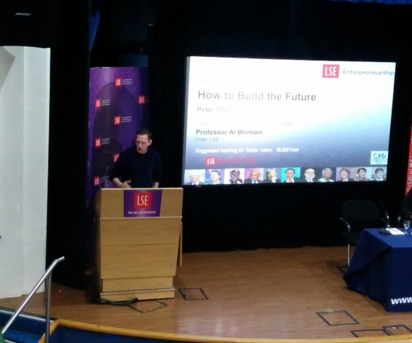 Peter Thiel, talking about Zero to One, at LSE