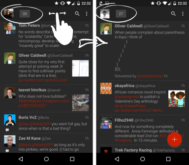 Swipe on action bar to switch between Twitter profiles.