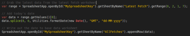 App Script to copy the latest fetch to base data worksheet