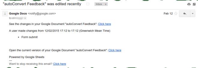 Default notification emails