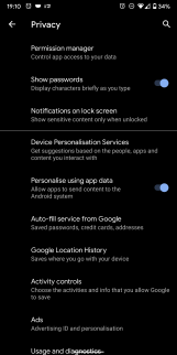 Android privacy settings, LTR language