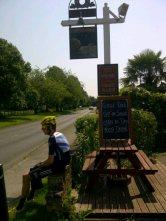 Bradley taking a break from Olympic RR route recon, outside a pub in Surrey