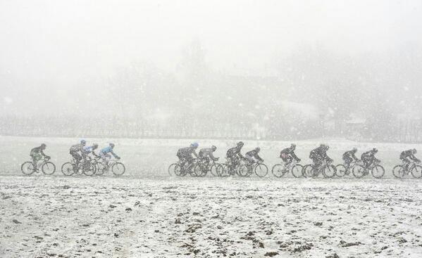 Peloton Passes A Snow Storm
