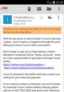 London Marathon 2015 Ballot