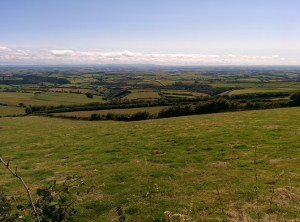 View from Exmoor, across Somerset & Devon, towards Dartmoor (dark outline on horizon)