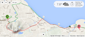 My Edinburgh run route in red, half marathon route in green