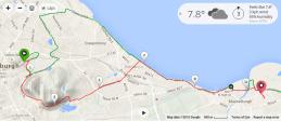 My Edinburgh run route in red, half marathon route in green