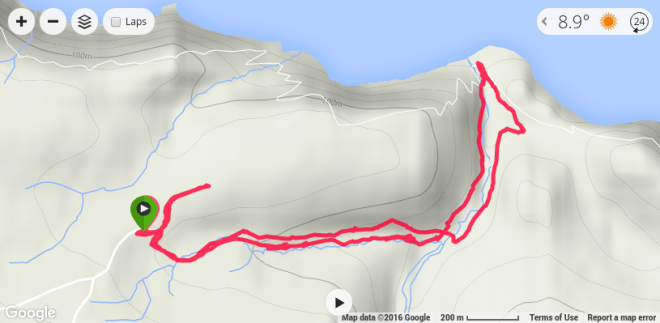 Hartland-Devon run route - To the black rock beach and back