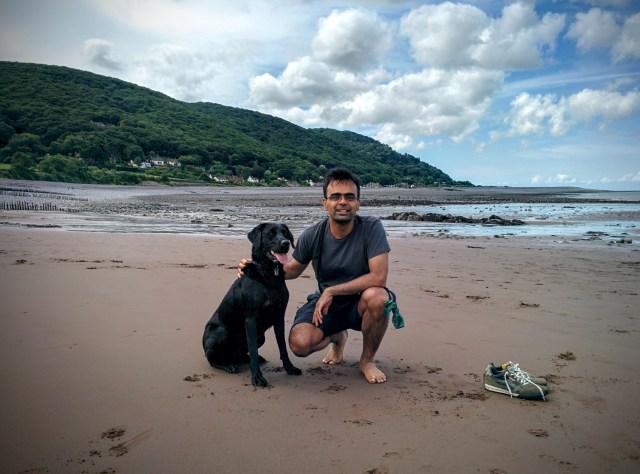Chewie and me at a beach in north devon / west somerset