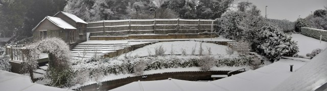 3rd Feb 2015 — White backyard covered with snow