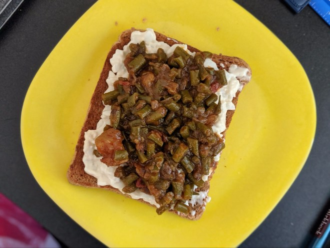 Wholemeal toast (warm, medium toasted), egg mayo (cold), Indian style spicy beans (cold)