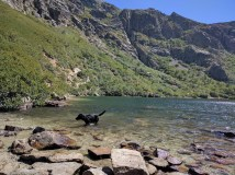 Alpine lake in Corsica - enjoying fruits of a hot hike