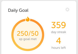 Duolingo goal streak (almost every day in 2018)