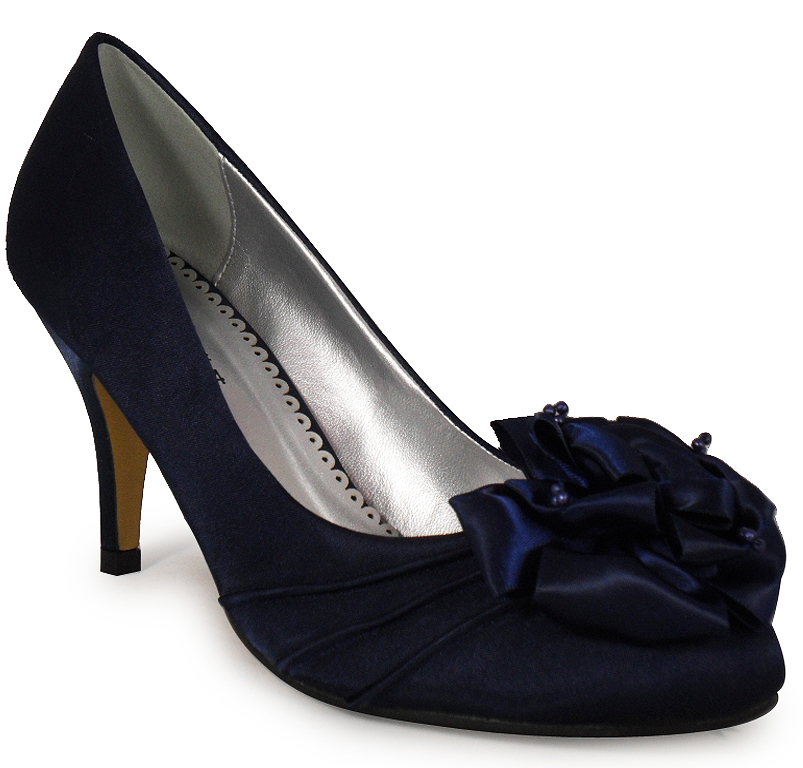 Navy Satin Wedding Shoes