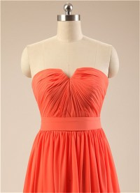 Red-Orange Short Bridesmaid Dress Strapless Pleated Top ...