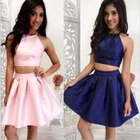 Halter Two Piece Pink Homecoming Dress,dark Blue Party ...