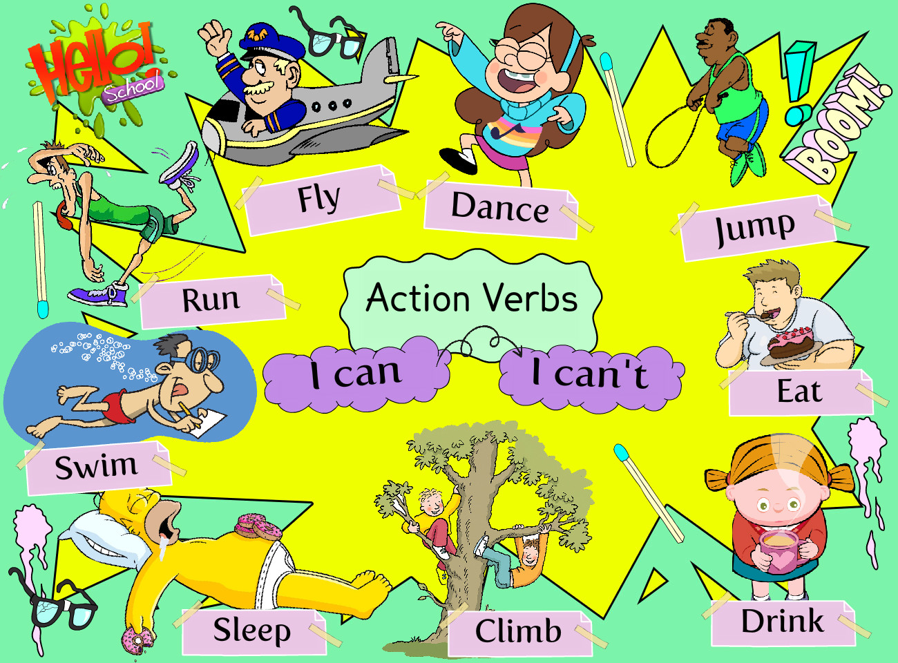 Action Verbs Preschool Text Images Music Video