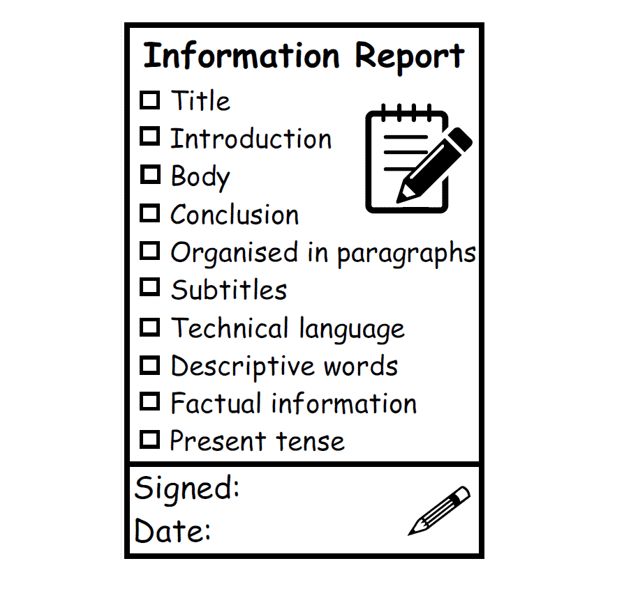 Information Report Writing Feedback Stamp