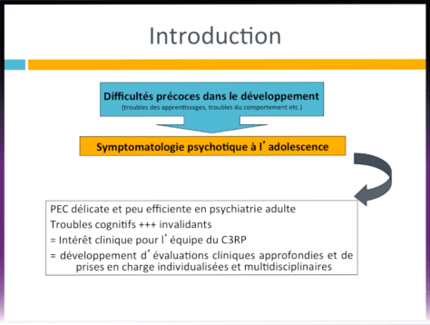 "Diapo 2 - Charlotte Danset-Alexandre : ""Déficit de l'attention, troubles des apprentissages et psychose: Une prise en charge multidisciplinaire au C3RP"""