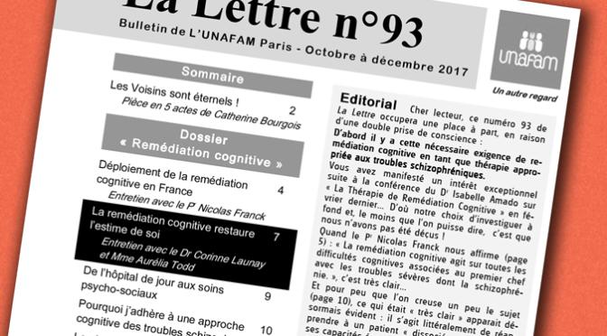 La Lettre de l'UNAFAM-dossier Remédiation Cognitive : Corinne Launay et Aurélia Todd