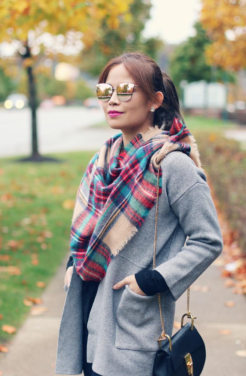 gray-cardigan-plaid-scarf-mirrored-sunglasses-3