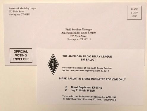 ARRL section manager ballot