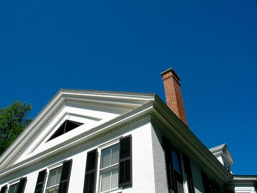 White House Chimney Blue Sky Tree Shutters Woodstock VT