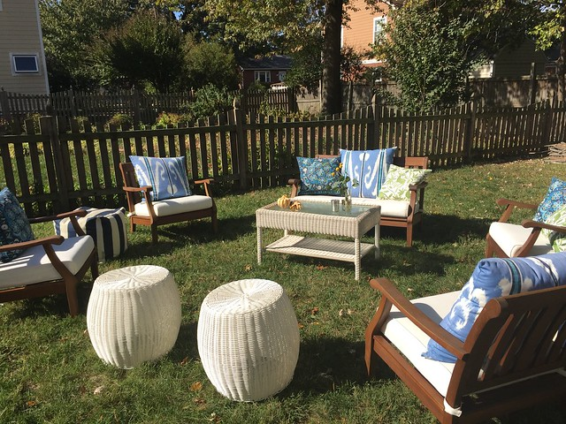 Fall themed baby shower by Calvert Designs outdoor seating area