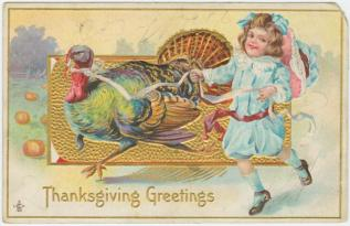 """""""Thanksgiving greetings"""" Postcard. 1911. NY Public Library Digital Collections"""