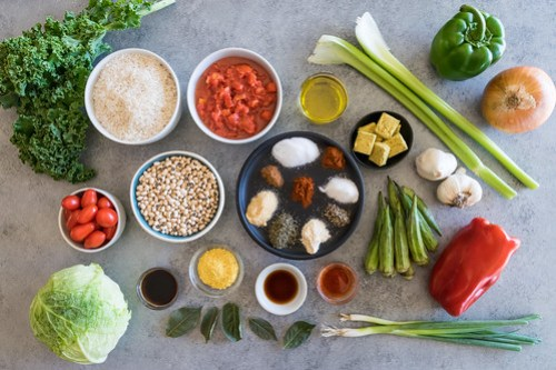 all the ingredients to make a colorful and delicious stew