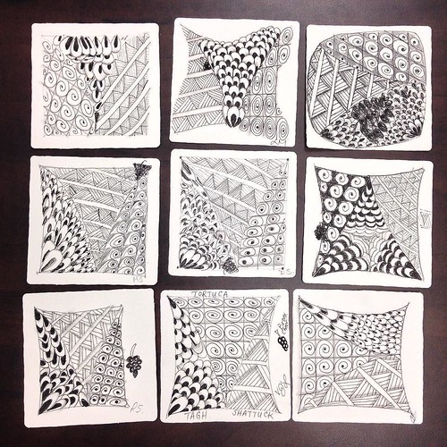 "Student tiles from ""Introduction to Zentangle"" class at the University of Windsor, Ontario, 2016-11-04."