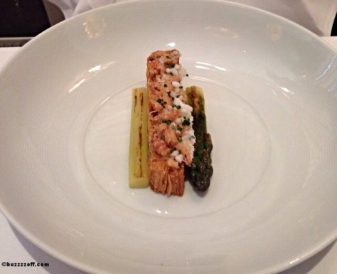Restaurant Martin Wishart - Millefeuille of Morecambe Bay Shrimps, roasted Wye valley asparagus and curry oil