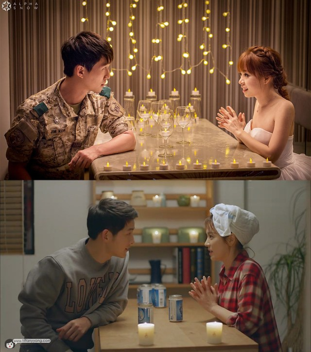 Song Song Couple Descendants of the Sun Drama Ep15 Candlelight Scene