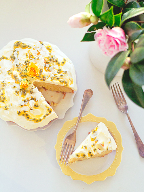 coconut passionfruit tres leches cake