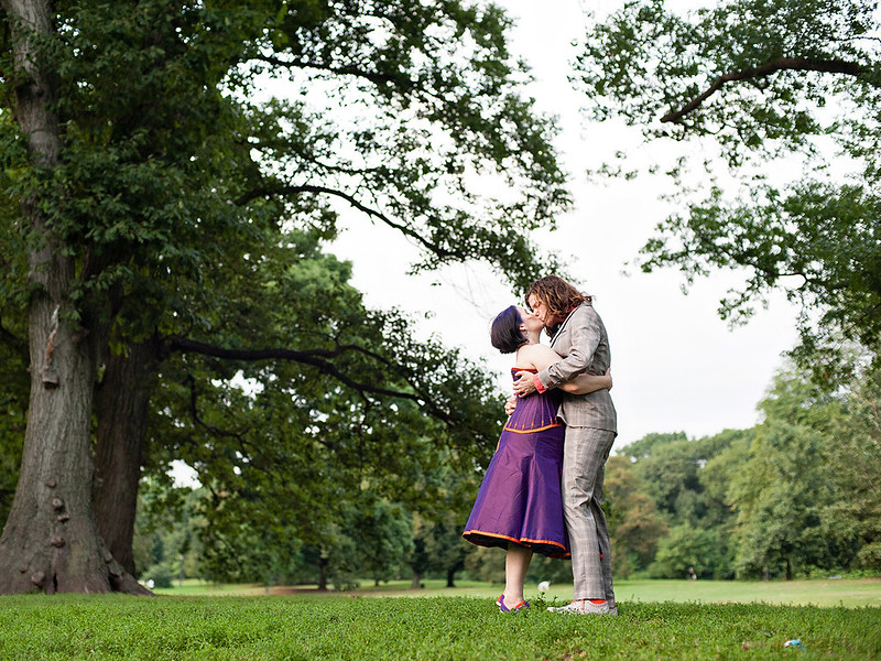 Purple corseted, gender-quirked, barefoot wedding from @offbeatbride