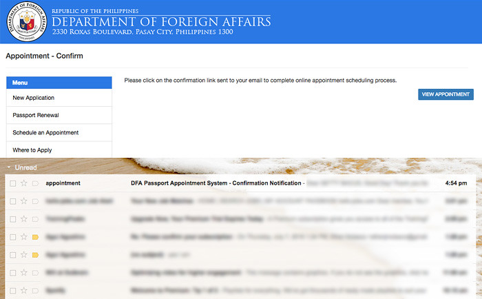 Passport appointment confirmation email