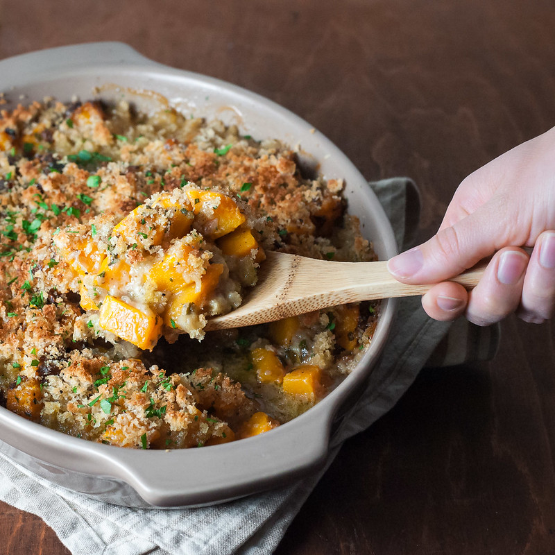 Butternut squash gratin with gruyere and breadcrumb topping