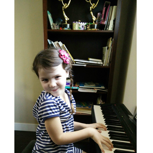This girl loves piano so much that she counts down the minutes to her next lesson all week long. She is crazy about piano... :-)