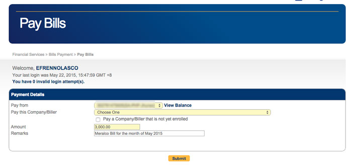 How to Pay Meralco Bill Online step 4