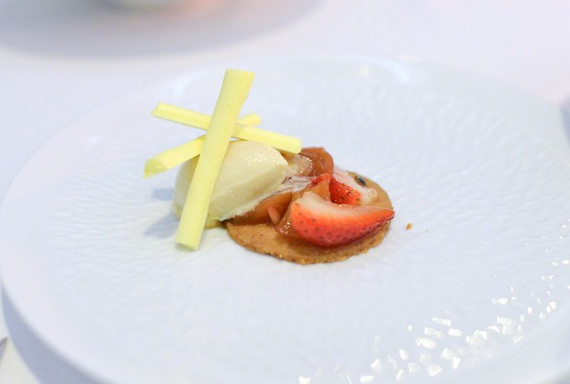 Caramelized Pears with Fresh Strawberry, Passion Fruit, Shortbread and Lemon Meringue