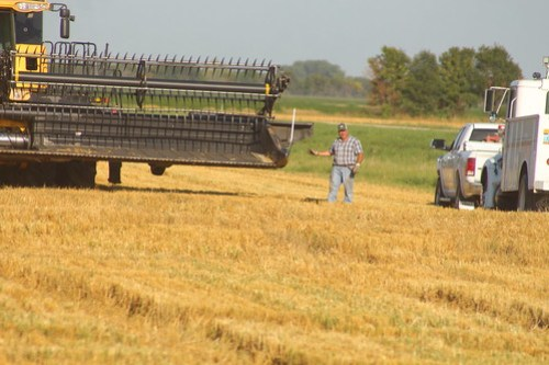 Dad fixing on the header.