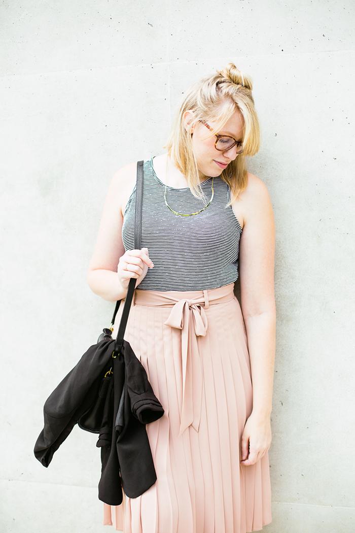black blazer striped tank blush midi skirt8