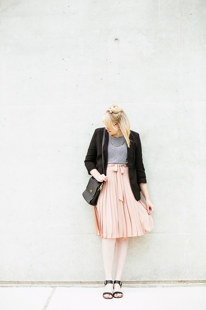 black blazer striped tank blush midi skirt2