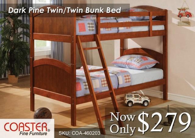 Dark Pine Twin-Twin Coaster Bunk