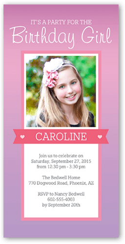 Party Time Banner Teen Girls Birthday Invitations Shutterfly