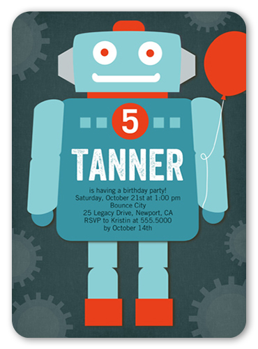 Rocking Robot 5x7 Birthday Boy Invitations Shutterfly