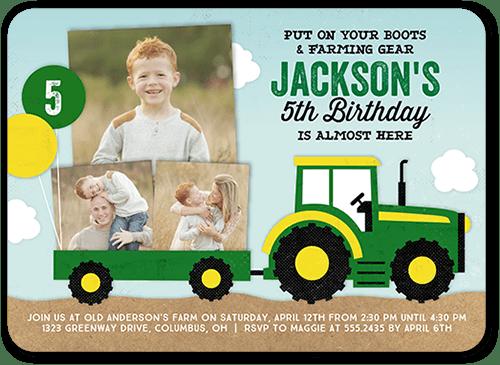 5x7 fantastic farming tractor birthday invitations shutterfly