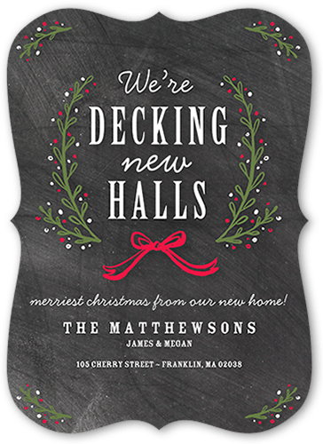 Decking The New Halls 5x7 Moving Announcement Cards